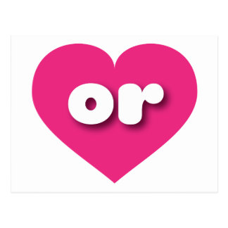 Oregon hot pink heart - mini love postcard