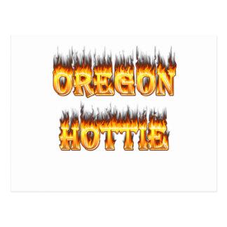 oregon hottie fire and flames postcard