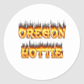 oregon hottie fire and flames sticker