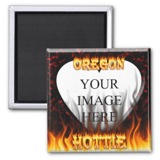 Oregon Hottie fire and red marble heart. 2 Inch Square Magnet