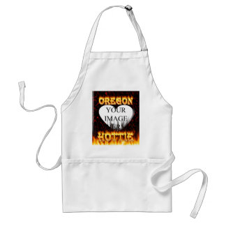 Oregon Hottie fire and red marble heart. Adult Apron
