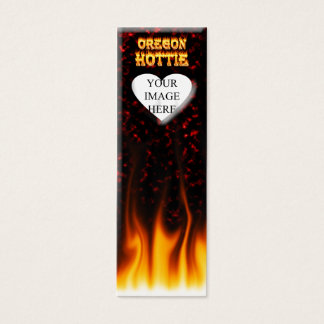 Oregon Hottie fire and red marble heart. Mini Business Card