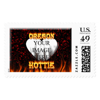 Oregon Hottie fire and red marble heart. Postage
