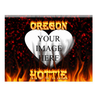 Oregon Hottie fire and red marble heart. Postcard