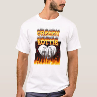 Oregon Hottie fire and red marble heart. T-Shirt