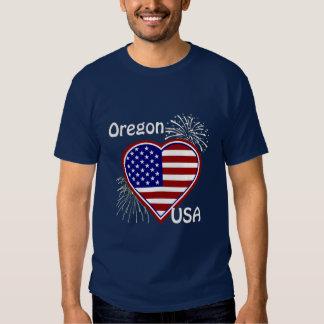 Oregon July 4th Fireworks Heart Flag Navy T-shirt