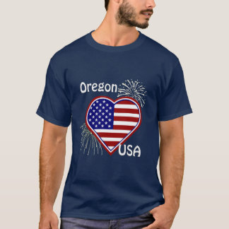 Oregon July 4th Fireworks Heart Flag Navy T-shirt
