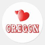 Oregon Love Round Stickers