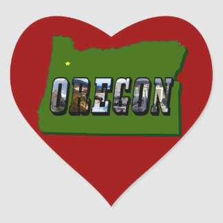 Oregon Map and Picture Text Heart Stickers