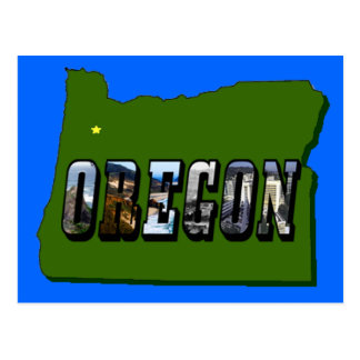 Oregon Map and Picture Text Postcard