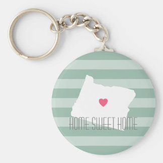Oregon Map Home State Love with Custom Heart Keychain