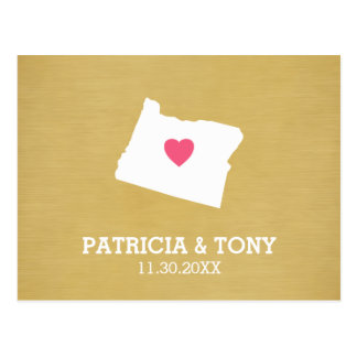 Oregon Map Home State Love with Optional Heart Postcard