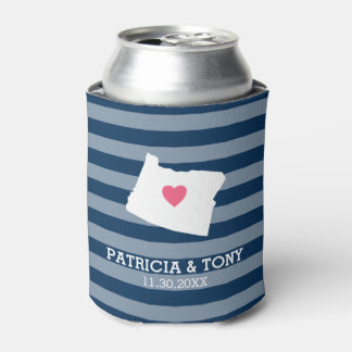 Oregon Map Home State Love with Optional Heart Can Cooler
