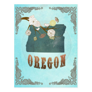 Oregon Map With Lovely Birds Postcard