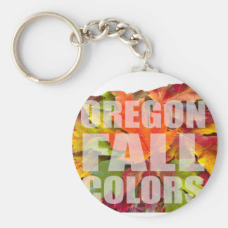 Oregon Maple Leaves Mixed Fall Colors Text Keychain