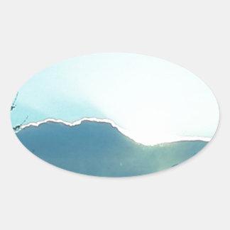 Oregon moutains oval sticker
