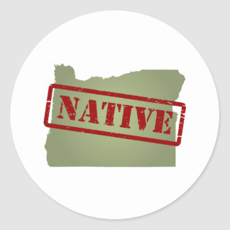 Oregon Native with Oregon Map Classic Round Sticker