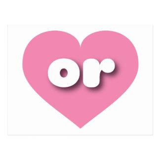Oregon o corazón rosado postal