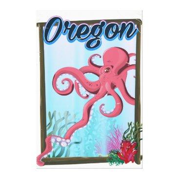 USA Themed Oregon Octopus travel poster. Canvas Print