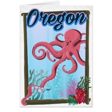 USA Themed Oregon Octopus travel poster. Card