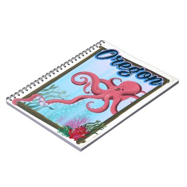 USA Themed Oregon Octopus travel poster. Notebook