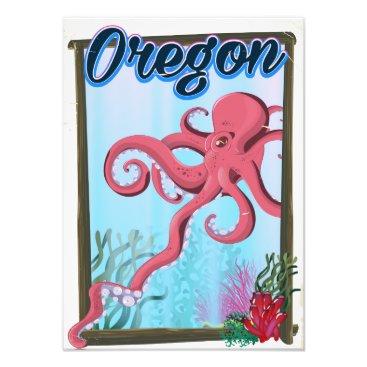 USA Themed Oregon Octopus travel poster. Photo Print