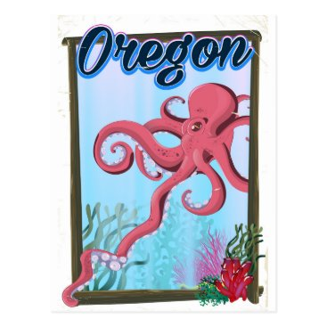 USA Themed Oregon Octopus travel poster. Postcard