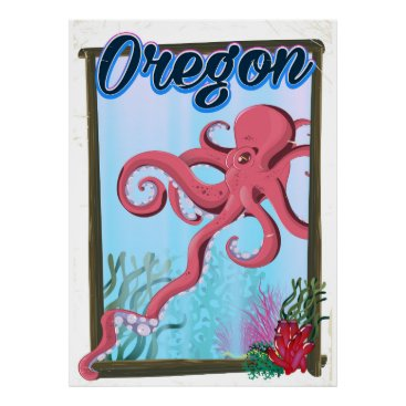 USA Themed Oregon Octopus travel poster. Poster