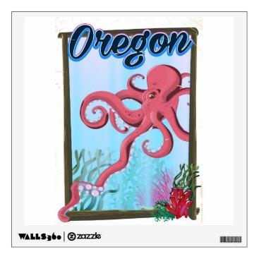 USA Themed Oregon Octopus travel poster. Wall Sticker