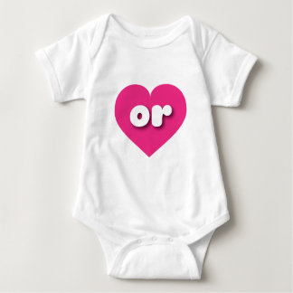 Oregon or hot pink heart baby bodysuit