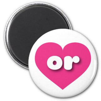 Oregon or hot pink heart fridge magnet