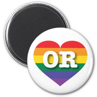Oregon OR rainbow pride heart Fridge Magnet