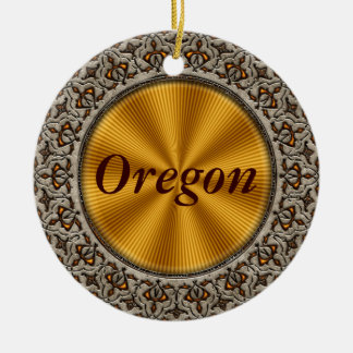 Oregon Double-Sided Ceramic Round Christmas Ornament