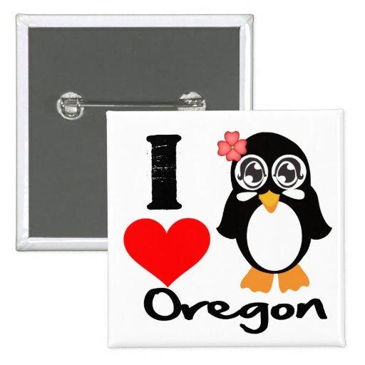 Oregon Penguin - I Love Oregan 2 Inch Square Button