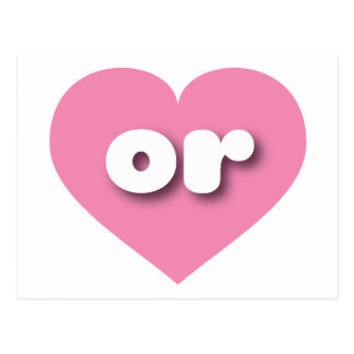 Oregon pink heart - mini love postcard