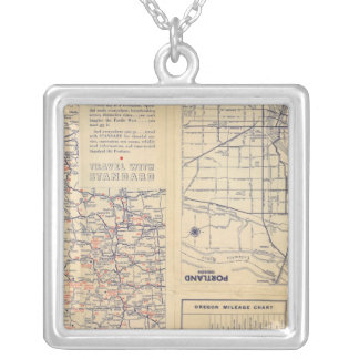 Oregon road map silver plated necklace