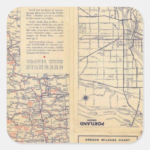 Oregon road map square sticker