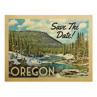 Oregon Save The Date Mountains River Snow Postcard