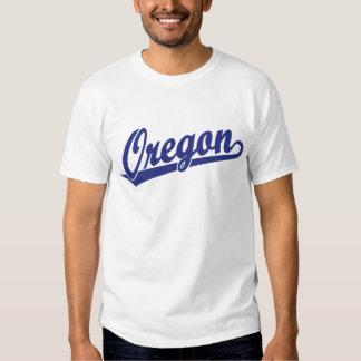 Oregon script logo in blue shirt