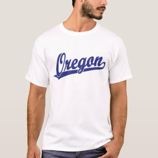 Oregon script logo in blue T-Shirt