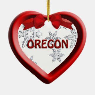 Oregon Snowflake Heart Christmas Ornament