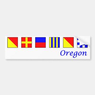 Oregon spelled in nautical flag alphabet bumper sticker