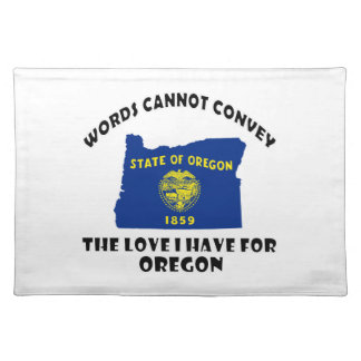 Oregon state flag and map designs cloth placemat
