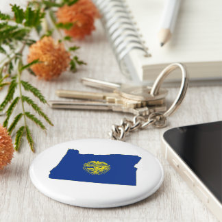 Oregon State Flag and Map Key Chain