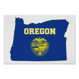 Oregon State Flag and Map Poster