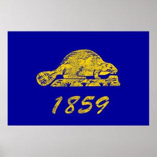 Oregon State Flag Beaver Grunge Salem Love Poster