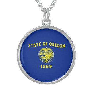 Oregon State Flag Design Round Pendant Necklace