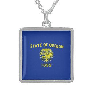 Oregon State Flag Design Square Pendant Necklace