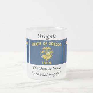Oregon State Flag Frosted Glass Coffee Mug