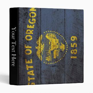 Oregon State Flag on Old Wood Grain 3 Ring Binder